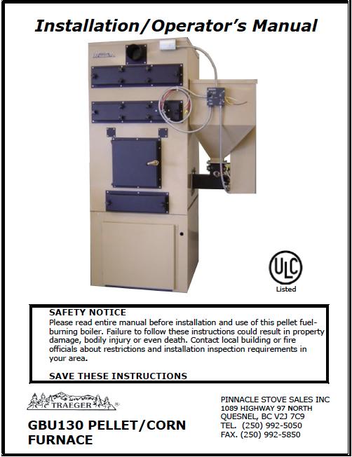 Traeger GBU-070 Furnace Manual